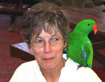 Eclectus Parrot meets tour group member, Mary Franklin